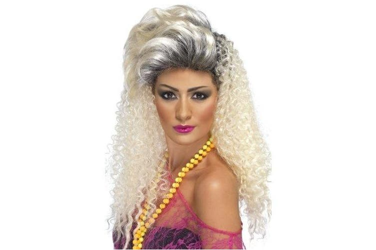 80's Bottle Blonde Wig, Curly with Quiff