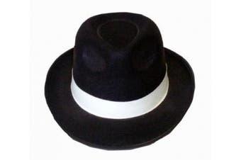 Henbrandt Adult Al Capone Gangster Hat Black with White Ribbon