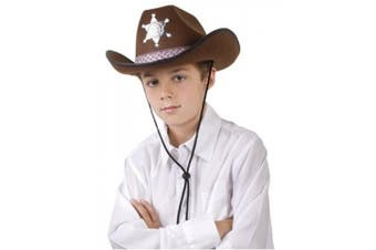 (Brown) - Brown sheriff hat for adults