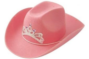 Pink Cowboy Hat with Tiara on Front