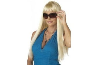 BLONDE LONG STRAIGHT GLAMOUR WIG WITH FRINGE - ONE SIZE FITS MOST