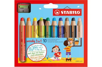(Assorted Colours, Pack of 10, Pencil with Sharpener) - STABILO Woody 3-in-1 Multi-Talented Pencils with Sharpener, assorted colours wallet 10
