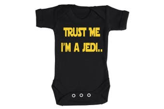 (Newborn, Red) - Baby Buddha - Trust Me I'm A Jedi Baby Babygrow 100% Cotton Sizes 0M Upto 12M in 5 Colours