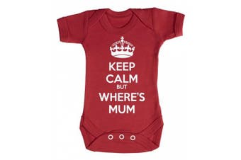 (0-3 Months, Red) - Baby Buddha - Keep Calm But Wheres Mum Baby Babygrow 100% Cotton Sizes 0M Upto 12M in 5 Colours