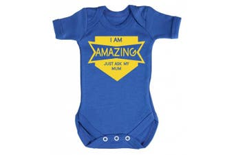 (0-3 Months, Bright Blue) - Baby Buddha - Amazing Just Ask My Mum Baby Babygrow 100% Cotton Sizes 0M Upto 12M in 5 Colours