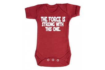 (6-12 Months, Red) - Baby Buddha - The Force Is Strong With This One Baby Babygrow 100% Cotton Sizes 0M Upto 12M in 5 Colours
