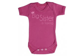 (6-12 Months, Cerise Pink) - Baby Buddha - Crown Big Sister Training Baby Babygrow 100% Cotton Sizes 0M Upto 12M in 5 Colours