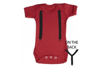 (6-12 Months, Red) - Baby Buddha - Suspenders Baby Babygrow 100% Cotton Sizes 0M Upto 12M in 5 Colours