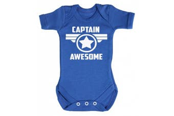 (6-12 Months, Bright Blue) - Baby Buddha - Captain Awesome Star Baby Babygrow 100% Cotton Sizes 0M Upto 12M in 5 Colours