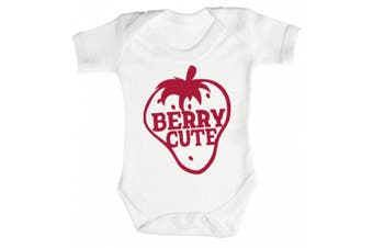 (0-3 Months, White) - Baby Buddha - Berry Cute Baby Babygrow 100% Cotton Sizes 0M Upto 12M in 5 Colours