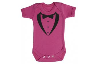 (6-12 Months, Cerise Pink) - Baby Buddha - Dinner Tuxedo Baby Babygrow 100% Cotton Sizes 0M Upto 12M in 5 Colours