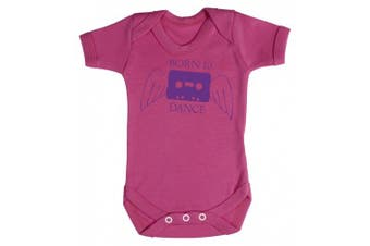 (3-6 Months, Cerise Pink) - Baby Buddha - Born To Dance Baby Babygrow 100% Cotton Sizes 0M Upto 12M in 5 Colours