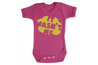 (0-3 Months, Cerise Pink) - Baby Buddha - It Wasn't Me Baby Babygrow 100% Cotton Sizes 0M Upto 12M in 5 Colours