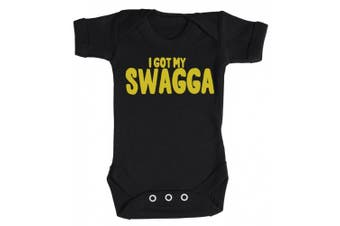 (3-6 Months, Black) - Baby Buddha - My Swagga Baby Babygrow 100% Cotton Sizes 0M Upto 12M in 5 Colours