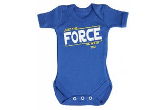 (3-6 Months, Bright Blue) - Baby Buddha - May The Force Be With You Baby Babygrow 100% Cotton Sizes 0M Upto 12M in 5 Colours