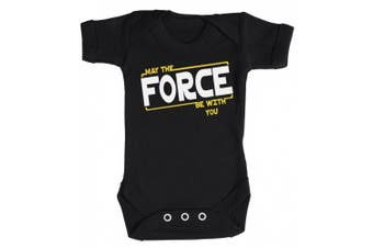 (6-12 Months, Black) - Baby Buddha - May The Force Be With You Baby Babygrow 100% Cotton Sizes 0M Upto 12M in 5 Colours