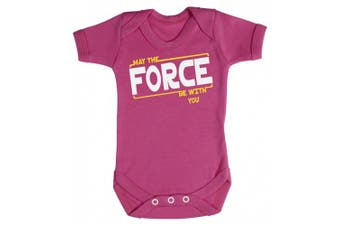 (0-3 Months, Cerise Pink) - Baby Buddha - May The Force Be With You Baby Babygrow 100% Cotton Sizes 0M Upto 12M in 5 Colours