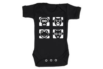 (3-6 Months, Bright Blue) - Baby Buddha - Animal Headphones Baby Babygrow 100% Cotton Sizes 0M Upto 12M in 5 Colours