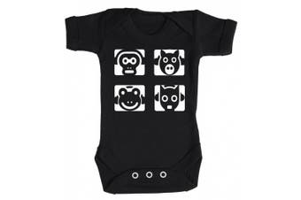 (3-6 Months, Black) - Baby Buddha - Animal Headphones Baby Babygrow 100% Cotton Sizes 0M Upto 12M in 5 Colours