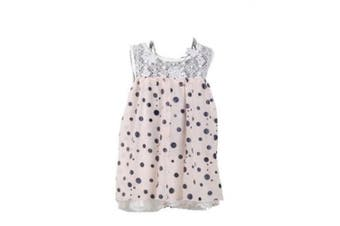 (6 - 9 Months, Pink) - Girls Dotted Party Dress