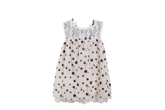 (9 - 12 Months, Cream) - Girls Dotted Party Dress