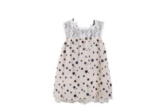 (3 - 6 Months, Cream) - Girls Dotted Party Dress