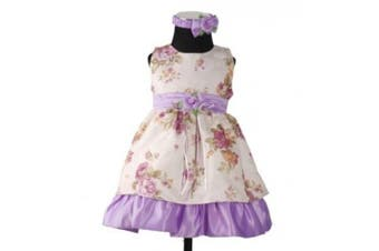 (12 - 18 Months, Cream and Lilac) - Cinda Satin Christening Party Dress+Headband and Pants