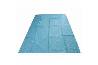 Large Highchair No Mess Splash Mat/Table Protector - Blue With White Polkadots