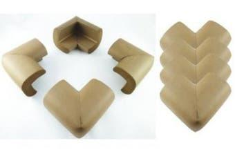 (Nut Brown) - 8 x AKORD BABY SAFETY CORNER PROTECTORS FOR DESK TABLE FURNITURE - SAFE FOR CHILD/KIDS (Nut Brown)