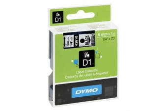 (6 mm x 7 m, Black on Transparent) - Dymo D1 Tape for Electronic Labelmakers 6mmx7 m Black on Clear Ref 43610 S0720770
