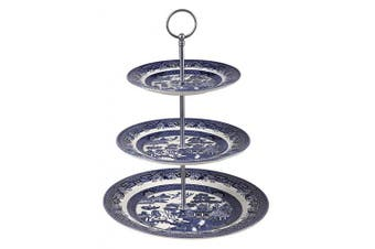 (Cake Stand 26cm ) - Churchill Blue Willow 3-Tier Earthenware Cake Stand