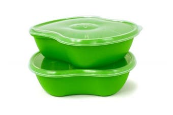 (Set of 2, Apple Green) - Preserve Square Sandwich Food Storage Containers, Set of 2, Apple Green