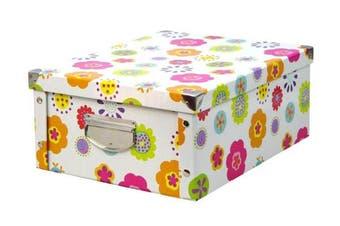 """(Blumen - Mehrfarbig, 40 x 33 x 17 cm) - Zeller 17853 Storage Box """"Kids"""" Paperboard / 32.5 x 10 x 27.5"""
