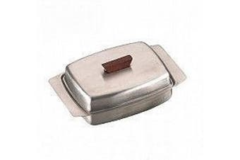 Stainless Steel Butter Dish with Wooden Knob