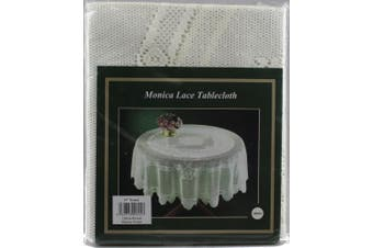 """(Beige, 150cm  Round) - Monica Lace Tablecloth Traditional Rose Pattern Table Linen - 60"""" Round (Cream)"""