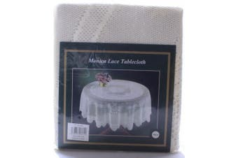 Monica Lace Tablecloth Traditional Rose Pattern Table Linen 72 Round (Cream)
