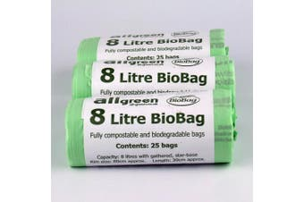 8 Litre x 75 bags Biobag Compostable Kitchen Caddy Liner - Food Waste Bin Liners - EN 13432 - Biobags 8L Compostable Bags with Composting Guide