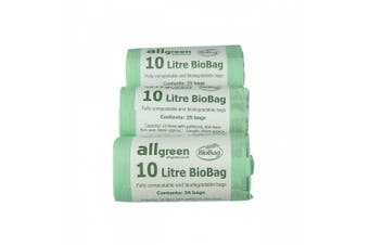All-Green 10 Litre Biobag Compostable Kitchen Caddy Bin Liners, 75 Bags