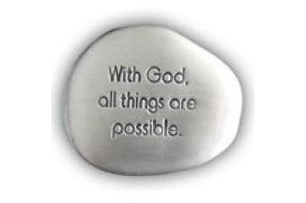 (With God) - Cathedral Art SS130 With God All is Possible Soothing Stone, 3.8cm