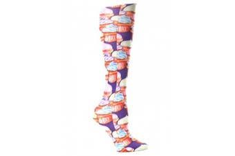 (Purple Cupcakes) - Celeste Stein Therapeutic Compression Socks, Purple Cupcakes, 8-15 mmhg, .180ml