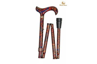 (Orient) - Classic Canes Fashionable Height Adjustable Folding Walking Stick - Orient Red & Orange Cane