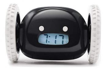 (Black) - CLOCKY the Original Runaway Alarm Clock on Wheels, Black (Loud for Heavy Sleepers), Perfect for Kids, New Grads, Teens & Even Dads