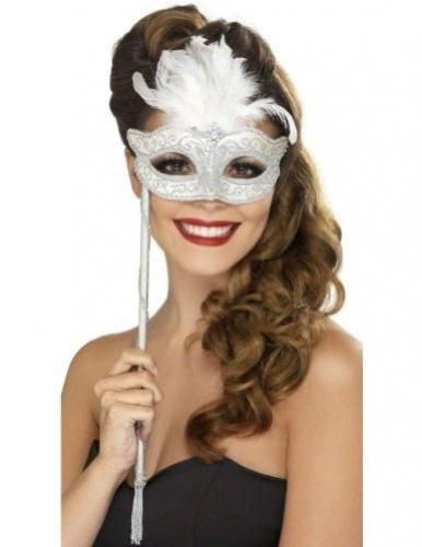 Silver Fever Baroque Fantasy Eyemask with Feathers and Handle