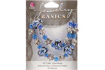 "(8"" Blue Fancy Round Mix) - Cousin JBSTRAND-17001 Jewellery Basics Glass Bead Strands-Blue Fancy Round Mix"