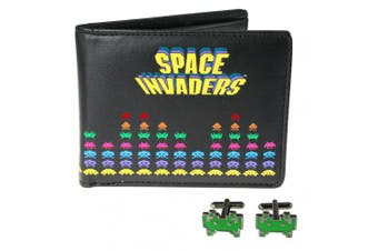 50fifty Concepts Space Invaders Cufflinks and Wallet in a Set
