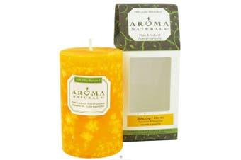 (Relaxing, 6.4cm  x 10cm ) - Aroma Naturals Essential Oil Orange Scented Pillar Candle, Lavender and Tangerine