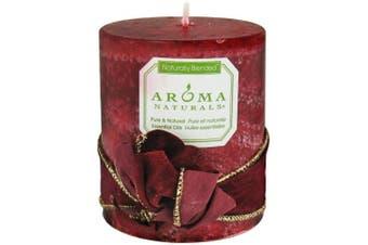 (Peace Ruby, 7.6cm  x 8.9cm ) - Aroma Naturals Peace Ruby Holiday Essential Oil Pillar Candle, Orange, Clove and Cinnamon, 7.6cm x 8.9cm