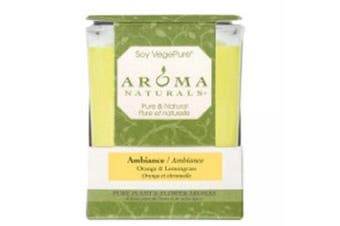 (Orange & Lemongrass) - Aroma Naturals Ambiance Square Glass Candle, Orange and Lemongrass, 200ml
