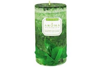 (Evergreen, 7cm  x 13cm ) - Aroma Naturals Evegreen Holiday Essential Oil Pillar Candle, Juniper Spruce and Basil,
