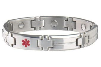 (stainless, s/m) - Mens Magnetic Diabetic Medical Emergency Alert ID Bracelet with Card